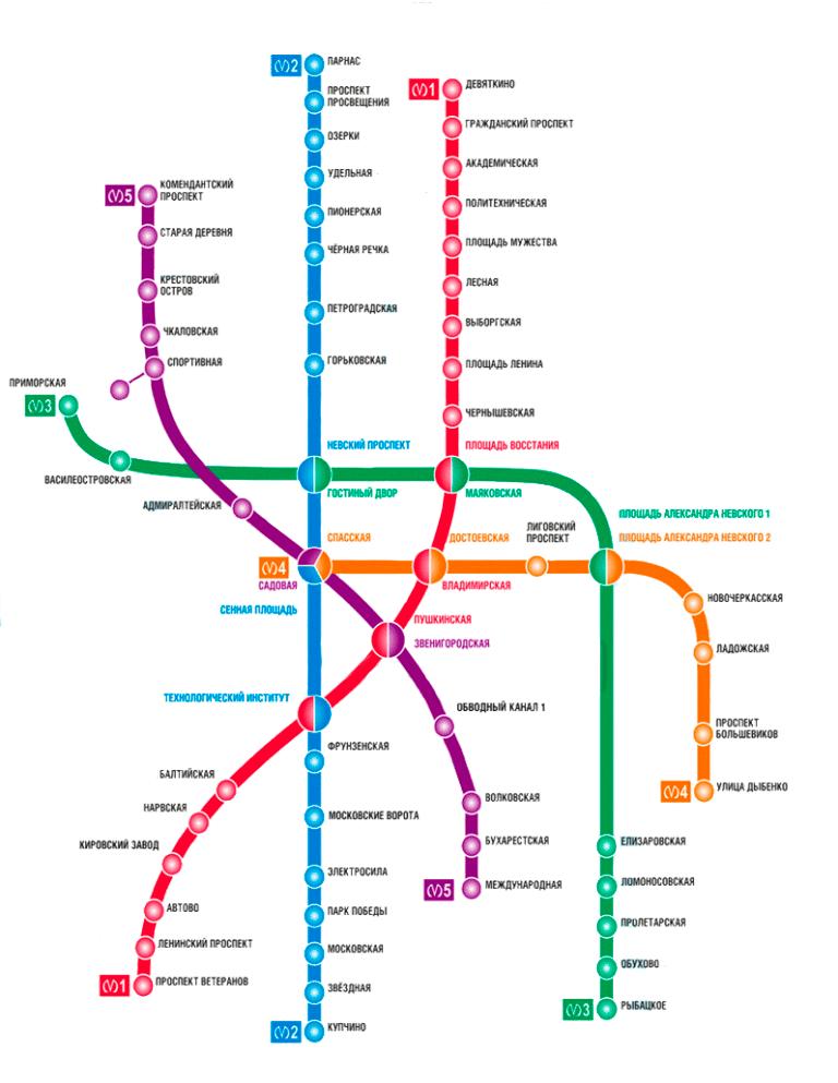 карта метро СПб